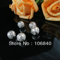 300pcs 8mm silver Metal Hollow out Round Ball Beads DIY jewelry accessories Free Ship