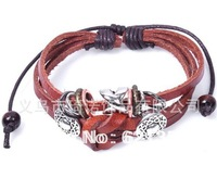 Leather bracelet,Retro Jewelry,2013 the hottest sell,fashion and leather materal,2pcs/lot,Wholesale and retail,QNW0052
