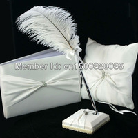 Free Shipping Beautiful White Satin Wedding Ceremony Collection Guestbook& feather pen  set &Ring Pillow China Wholesale