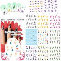Wholesale  -90pcs/lot Nail Art Design Feather Nail Tattoo Sheets Decals ,13 different design