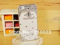Luxury 3D flower Crystal DIY Bling Diamond Rhinestone Case for iphone 5 5g with retail package Free shipping