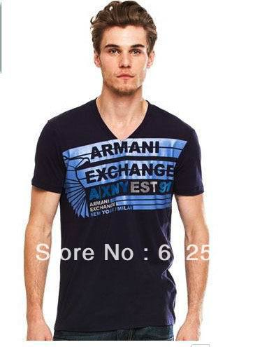 free shipping latest mens top quality designer brand name ax t shirts cotton printing elastic slim fit tee shirt tops size M-XXL(China (Mainland))