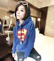 2013 Sping Korean Lady Loose Thick Hooded Cartoon Sweaters Women Fashion Long Sleeve Fleece Superman Sweatshirts Free Shipping