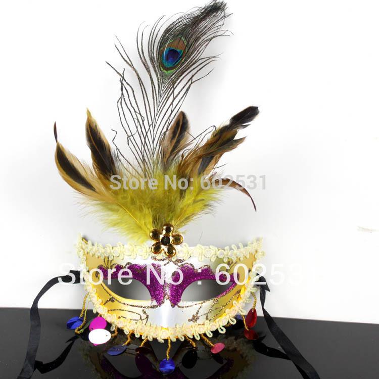Pena do pavão do partido Máscara Máscara de alta qualidade Venetian amarelo para 10pcs Venda / lote Livre de envio 6 cor pode escolher(China (Mainland))