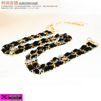 Free shipping charm  metal rhinestone tassel female decoration belly chain fashion belt popular fur clothing