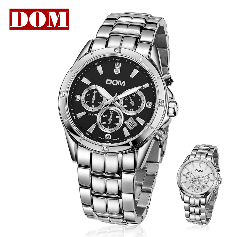 2013 hot sales genuine original Dom brand luminous waterproof quartz steel tape timer calendar male watch casual mens watch(China (Mainland))