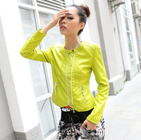 Spring new arrival fashion design green short motorcycle leather clothing candy color PU clothing outerwear slim women's jacket