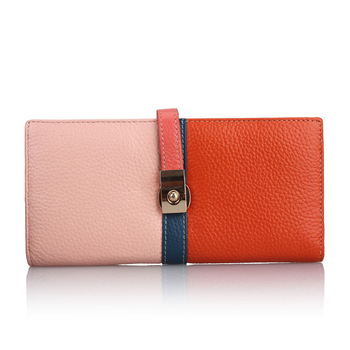 New arrival fashion 2013 women's cowhide wallet Women bag two-color block color women wallet  luxury purses