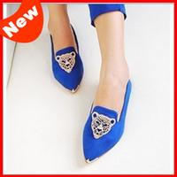 2014 Hot leopard head women shoes ballet flats for women metal pointed toe single shoes fashion ladies flats shoes NX08