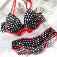 Classic bow sexy heart of paragraph bra set underwear set