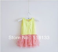 Wholesale -hot sell Stitching mesh water jade dot sleeveless dress Candy colors princess vest dress Korean style