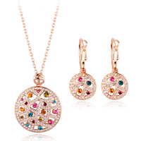 Italina Rigant 18KGP Moon Lover Jewelry Set  Made With 100% Austria Multicolor Crystal