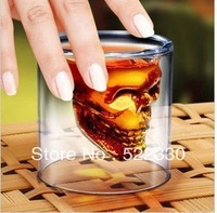 12Pcs/Lot Free Shipping Crystal Skull Shot Glass/Crystal Skull Head Vodka Double Walled Shot Glass