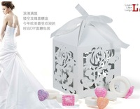 Free ship European style  wedding candy box , silver color , DIY paper , hollow rose , 6cm*6cm*8cm,100 pcs/ lot , hot sale