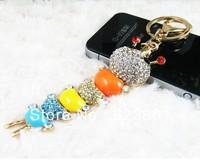 Free shipping Cute Fashion Bright Rhinestones Carpenterworm Keychain Key Hanger Key Ring Key Chain  mixed color 12pcs/lot