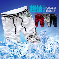 2013 summer rib knitting ink interspersion patchwork all-match personality sports casual pants capris men's male