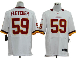 Free shipping ! American football Men&#39;s Washington Redskin #59 London Fletcher White Red Color Elite Throwback Jerseys(China (Mainland))