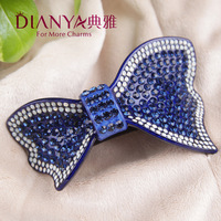 High-End Boutique elegant luxury Austrian rhinestone the issuing bow cross clip the top folder spring clip jewelry