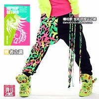 DJ-02 2014 Neon color Patchwork Harem pants Hip hop dance harem pants Tassel Candy joggers sweatpants women sports pants