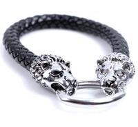 new arrival double metal lion heads punk wrap belt men snake leather bracelet bangle jewelry 0002