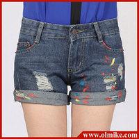 2013 Summer ladies' designer folding washing cotton denim shorts, Paint Graffiti short pants, short jeans for lady W24-32 WA174