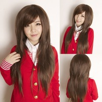 bobo fluffy long oblique bangs , elegant ol sweet fashion  charm personality popular dark brown lady's wig (free shipping)