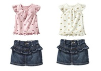2013 new design Summer Kids Clothing Set t-shirt+ short jeans 2- pieces sets 2 colors kids Garment ,free shipping