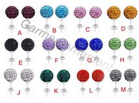 20pairs 10mm round shaped cz clay shamballa disco pave ball post stud earring 16colors vintage earring