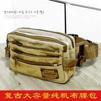 2013 male large size multi-layer 100% cotton canvas waist pack waist pack travel waist pack bag  ,Free shipping