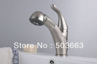 Deck Mounted Nickel Brushed Bathroom Basin Sink Pull Out Spray Mixer Tap Faucet L-1625 Mixer Tap Faucet