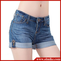 TOP Rated 2013 Summer ladies' casual Cuffs Denim shorts, Women Fashion cotton washed jeans shorts color blue size W26 - 31 WA179