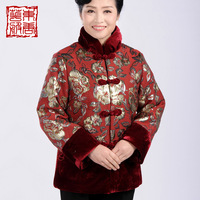 Magnificently women's quinquagenarian autumn and winter long-sleeve wadded jacket tang suit outerwear cotton-padded jacket lily