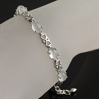 Natural crystal bracelet natural moonstone bracelet neon cat-eye 925 silver bow oval