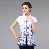 Magnificently 2013 summer chinese style medium-long V-neck tang suit short-sleeve top blue and white porcelain