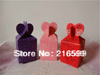 New 100pcs/lot Red,Pink,Purple Colors Fishtail Wedding Supplies Favour Candy Boxes With The Size 6 x 6 x 8 cm Free Shipping