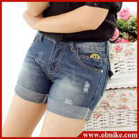 Fashion cute smile face hole 2013 casual short trousers summer jean cheap high waisted denim shorts for women S-XXL WA178