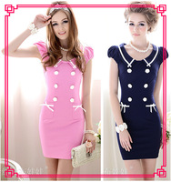 Elegant Vogue Slim Dress Double Breasted Short Puff Sleeve, High Quality Summer Women's Dresses 3042101