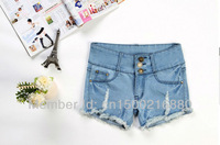 free shipping. 2013 modest XXXL blue jeans shorts women, hot selling cheap high waisted denim pants 2013