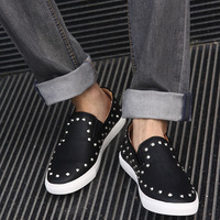 Summer breathable shoes gauze shoes rivet shoes daily casual shoes british style lounged low-top shoes male
