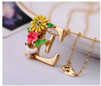 Min.order is $15 (mix order)JN054 Drip flower letter E pendant short necklace women Free shipping