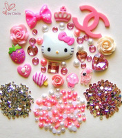 Hello Kitty Cabochon DIY Lovely Pink Crown Mushroom Strawberry Ice-cream Rabbit Bow Flat-back Resin Deco Kit