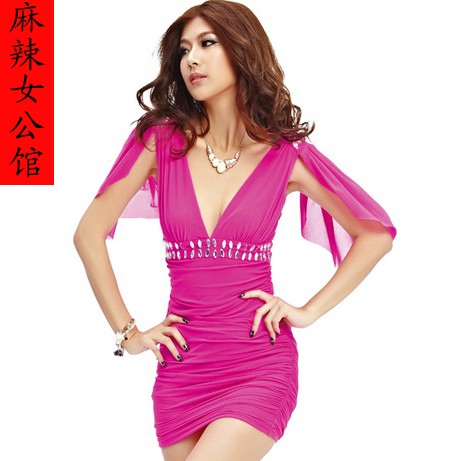 Fashion party dress 2013 new dresses elegant Lady's organza dress sexy mini skirt blue, rose, yellow, black color free shipping(China (Mainland))