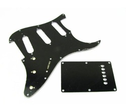 1 3Ply Guitar Pickguard SSS & Back Plate for ST Style Guitar Plain Black BWB 604(China (Mainland))