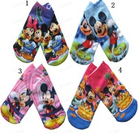 NEW 12 pairs/lot baby kids cotton socks cartoon Mickey designs baby 2 sizes 4 colours selection for 1 to 6 years Free Shipping