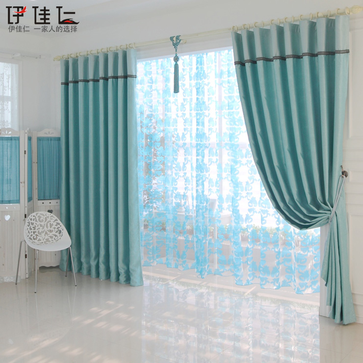 Hot Home design Specials Blue thickening dodechedron curtain small fresh rustic curtain finished product(China (Mainland))