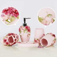 Free shipping Blue sky Pink five pieces bathroom set resin wash set fashion bathroom four piece set 2
