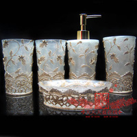 Free shipping Wash set fashion resin bathroom set of five pieces bathroom set marriage