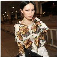 2013 new fashion plus size women t shirt clothing korean style punk sexy tops tee clothes Long sleeve T-shirt Retro Tiger