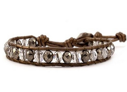 CHAN,LUU Pyrite Crystal Single Wrap Bracelet Brown Leather(China (Mainland))