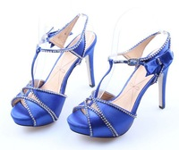 2013 spring genuine leather liner flower rhinestone women's high-heeled platform shoes wedding shoes